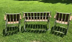 Vintage Aluminum And Wood Slat Folding 2 Lawn Chairs And Bench Outdoor Furniture