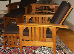 Vintage Stickley-style Mission Oak Morris Bowed Arm Recliner Chair And Ottoman