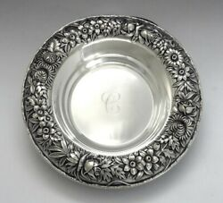 Fab Kirk Sterling Silver Hand Chased Floral Repousse Bowl C Monogram