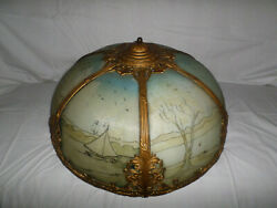 Pittsburgh Lamp Shade Antique Ornate Art Nouveau Reverse Painted 18.5 W. Shade