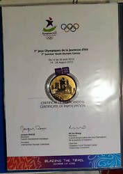 2010 Singapore 1st Yog Youth Olympic Game Athlete Participation Medal And Diploma