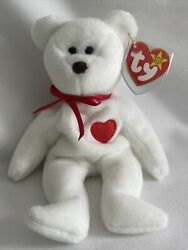 Valentino Bear Beanie Baby Ty With Errors Rare Brown Nose Mint Condition