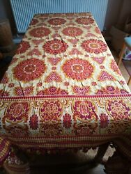 Antique Victorian Embroidered Red Gold Tapestry Tablecloth 72 X 80