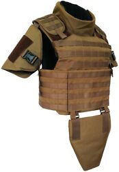 Small Coyote Full Body Armor Plate Carrier Molle Vest Iiia Made With Kevlar Inc