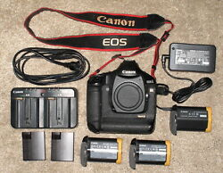 Exc Canon Eos 1ds Mark Iii Body 21mp 617456 W/ Extra Batt, Charger, Ac Adapt.