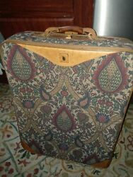 Vtg Hartmann Fire Tapestry 2 wheeled Rolling Leather Trimmed 22in Suitcase