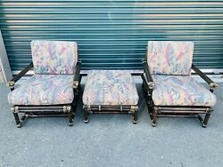 Vintage Mid Century Mcguire Rattan Bamboo Lounge Chairs And Ottoman Patio Set