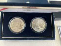 2001 Silver American Buffalo 2 Coin Proof Set With All Govt Packaging And Coa