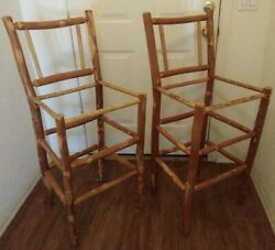 Old Hickory Furniture Co Wooden Bar Stool Chairs Rustic Lot Of 2 Local Pick Up