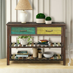 Retro Console Table For Entryway Buffet Sideboard W/drawersandshelf Antique