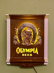 Rare Olympia Beer Lighted Electric Horseshoe Good Luck Wall Sign Advert 1970and039s