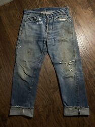 Vintage 1960's Levi's 501 Jeans Big E 33 X 29.5 6 Distressed Made In The Usa