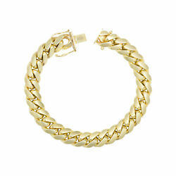 10k Yellow Gold Solid Mens 10mm Miami Cuban Link Chain Bracelet Box Clasp 9