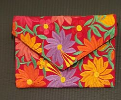 Mexican embroidered clutch Floral red bag Crossbody $27.00