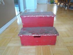 Vintage Rustic Handcrafted 2 Step Stool 11 Tall Wooden Step Stool Red Paint