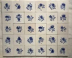 Antique Large Set Of 30 Dutch Delft Tile Flowers And Birds 18th C. The Very Best 3