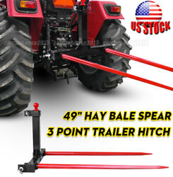"""Category 1 Tractors 3 Point Trailer Hitch Quick Attach Bale Spear + 49"""" Hay Bale"""