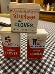 3 Vintage Schilling Mccormick Durkee Co Spice Tins Whole Ground Cloves
