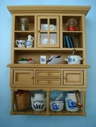 Reutter Kitchen Wall Cabinet Blue Porcelain And Accessories