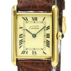 Auth Watch Must Tank W1002753 Gold Plate Leather Quartz Case23mm F/s