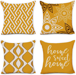 Hexagram Home Decorative Pillow Covers 18 x 18 Inch Set of 4 Yellow Modern Geome