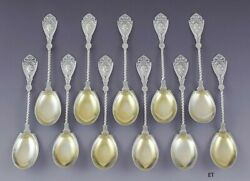 Great Set 11 Wood And Hughes Coin Silver Medallion Dessert / Chocolate Spoons