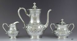 Antique C1900 International Sterling Silver Hand Chased Repousse 3pc Tea Set