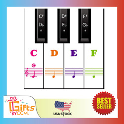 Piano Keyboard Stickers for 88 61 54 49 KeyColorful Transparent Removable for