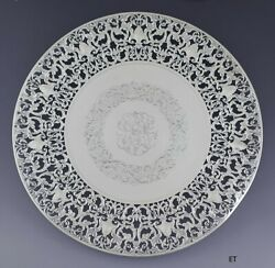 Antique C1900 Fab Sterling Silver Pierced Round Serving Tray Cake Plate 13