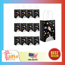 24 Packs Outer Space Gift Bags Kids Bags Handles Planet Galaxy Party NEW $27.99