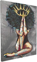African American Wall Art African Black Woman Praying Painting Artwork Abstract