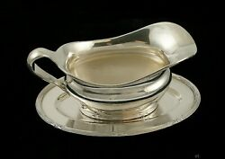 Antique C1900 Austro-hungarian Silver Sterling Sauce Gravy Boat W Tray/plate
