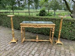 1900's Gold Hall Table With Matching Pillars And Dark Green Marble Top