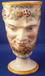 Antique Staffordshire Pottery Figural Bacchus Mug Cup W/ Frog English England