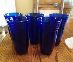 Vintage Cobalt Blue Glass Tumblers Drink Set Of 5 With Ribbed Top