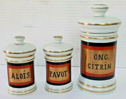 Antique Late 19th Century French Apothecary Jars - Set Of 3