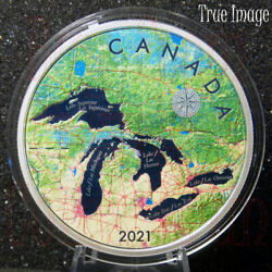 2021 - Great Lakes - 50 5 Oz Pure Silver Proof Map Coin - Canada