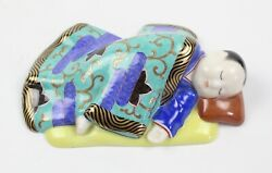 Herend Asian Sleeping Child Porcelain Figurine Hungary Green Or Teal And Blue