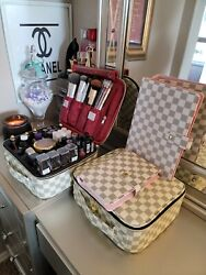 White makeup Cosmetic Cases Organizer Portable Storage Bag for Cosmetics Makeup $40.00
