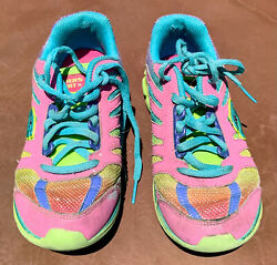 Sketchers LEATHER Girls Sz 2 Shoes Light weight Sneakers rainbow running athleti $10.99