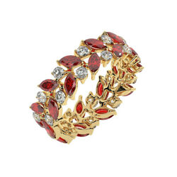 2.25ct Claw Set Double Row Round Diamond And Ruby Full Eternity Ring 18k Yg