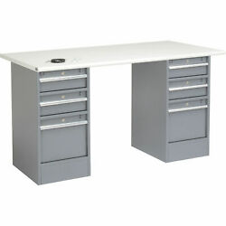 60w X 30d Workbench 1-1/4 Safety Edge Esd Top 3 Drawer/3 Drawer