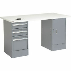 72w X 30d Workbench 1-1/4 Square Edge Esd Top 3 Drawer/cabinet
