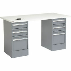 72w X 30d Workbench 1-1/4 Square Edge Esd Top 3 Drawer/3 Drawer