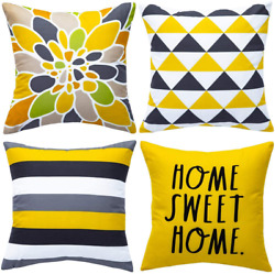 WLNUI Set of 4 Decorative Pillow Covers 18x18 Inch Yellow Geometric Modern Throw