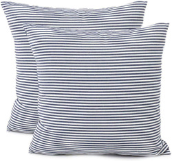 Blue Farmhouse Striped Throw Pillow Covers Decorative Polyester Linen Ticking So