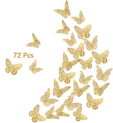 3D Gold Butterfly Wall Decals 72Pcs 3 Sizes 3 Styles Removable Srickers Wall D