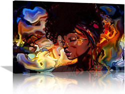 Amemny Abstract Artstained Glass Pattern African American Women Canvas Wall Ar