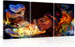 Amemny Abstract Wall Art African American Women Painting Canvas Abstract Graffit