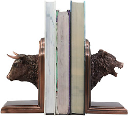 Ebros Wall Street Stock Market Bull And Bear Head Bookends Statue Set In Bronze